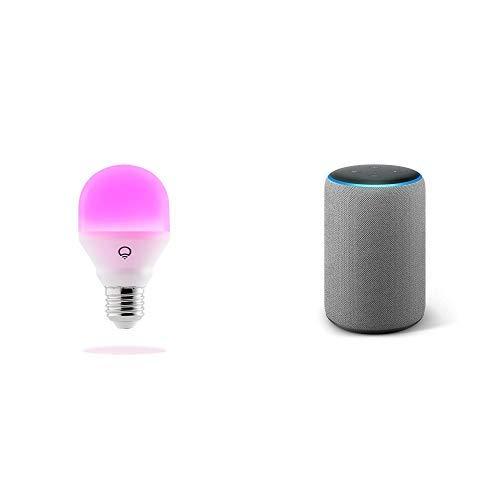 Echo Plus tessuto grigio scuro + LIFX Mini (E27) Lampadina a LED Wi-Fi Smart, regolabile, multicolor, dimmerabile, non richiede un hub, funziona con Alexa, Apple HomeKit e Google Assistant