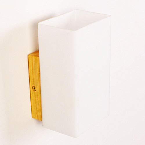 9 Naturholz (Glashalterung Licht/Wand Hängelampe Kreativität Einfacher Stil Innenlicht Schlafgemach Nachttischdekoration Leuchte 10 * 17 * 9Cm E27 Weiß + Naturholz [Energieeffizienz a +], BOSSLV)