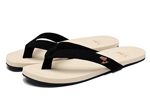 Insun Homme Toile Tongs Normal Plat Sandales Bout Ouvert Mules Chaussures Flip Flops Noir