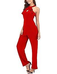 1814920e052ec Tuta Donna Elegante da Cerimonia Partito Lunghe Tute Smanicato Rotondo  Collo Fashionable Completi Senza Spalline con
