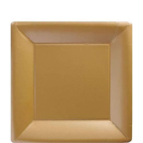 idealWigsNet Gold quadratische Platten - 18cm Papier Party Teller
