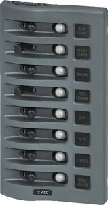 BLUE SEA 4378 WEATHER DECK 12V PANEL 8 POSITION GRAY by Blue Sea Systems 12 Position Panel