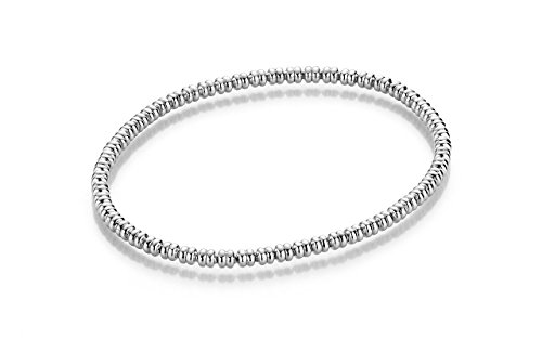 YoungDiamondFashion YDF Stretch Silberarmband Flexibel 3 mm Länge 19 cm925 Sterlingsilber Rhodiniert Elastisch Dehnbar Armkette