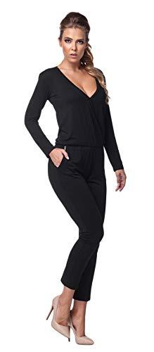 Lemoniade stylischer Jumpsuit Made in EU mit V-Ausschnitt und raffinierten Details, Schwarz Langarm, Gr. L (40) -