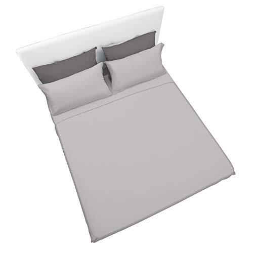Set completo di lenzuola e federe da letto matrimoniale tinta unita,col. argento in microfibra