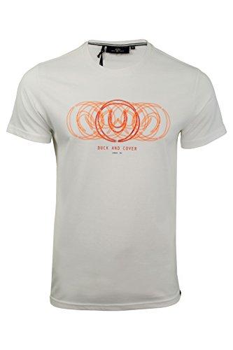 Duck and Cover Herren T-Shirt 'Teknic' Rundhals Kurzarm Weiß