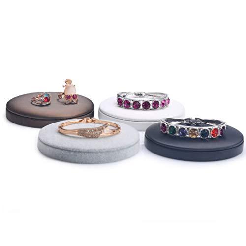 - Brown-leder-counter (KAILLEET YY6 Gebürstetes Leder Runde Schmuckrahmen Halskette Armband Base Counter Schmuck Display (Farbe : Braun))