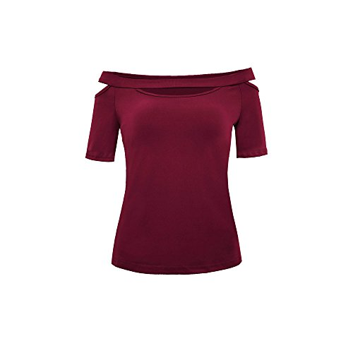 IMJONO Tops Damen bauchfrei 2019 Womens Casual Cold Schulter Tops Kurzarm T-Shirt T-Shirt Bluse(X-Large,Wein)