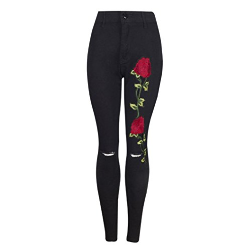 Damen Zerrissene jeans VENMO Frauen Blumen Gestickter Denim Zerrissene Hosen Stretch Bleistifthose Hose gerissen High Waist Slim Jeanshose Stickerei Blumen Bleistift Relaxed jeans Hose (S, Black)