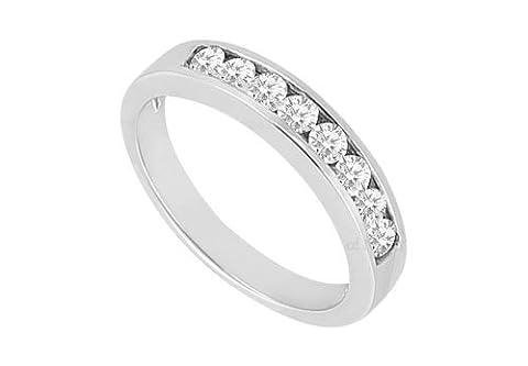 Diamond Channel Set Wedding Band 14K White Gold 0.55 CT Diamonds