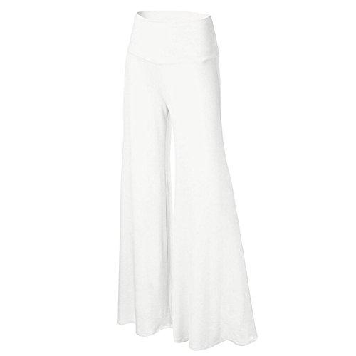 iShine Casual Hosenrock Damen Lang elegant Palazzo Hosen Wide Leg Pants Lagenlook Hosen Lagen Hose mit leichte elastische-Weiß-XL