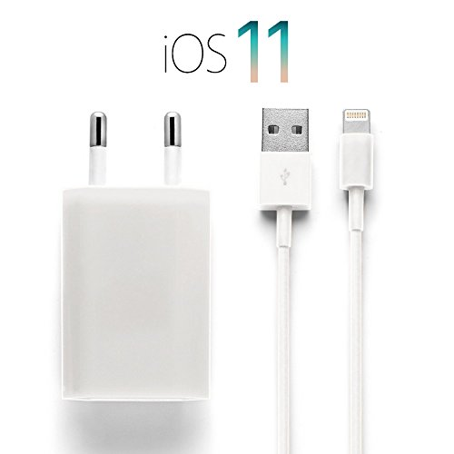 Top-5-kabel (iProtect Ladekabel + Netzteil Set für Apple iPhone 5 5s 5c SE, iPhone 6 6 Plus 6s 6s Plus, iPhone 7 7 Plus, iPhone 8 8 Plus, iPhone X, iPad in Weiß)