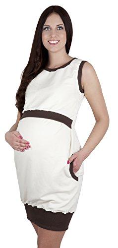 Mija - 3 in1 Umstandskleid & Stillkleid & Kleid / Elegantes Shirtkleid Schwangerschaftskleid Fiona 7111 Ecru / Braun