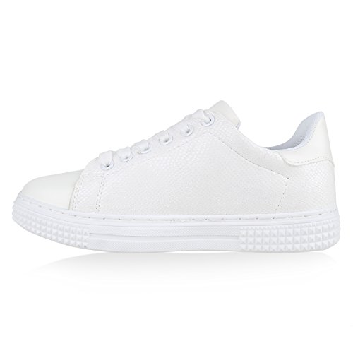 Damen Sneakers Metallic Prints Pailletten Patches Sportschuhe Weiß