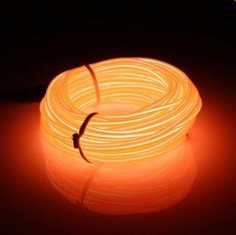 MASUNN 10M EL Führte Flexiblen Weichen Schlauch-Draht-Neonglühen-Auto-Seil-Streifen-Licht-Weihnachtsdekor Dc 12V-Orange -