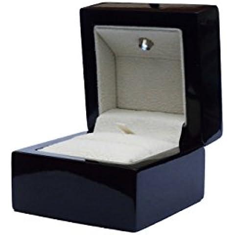 Luxury LED in legno gioielli anello box–nero lucido con inserto in velluto avorio DSC-015