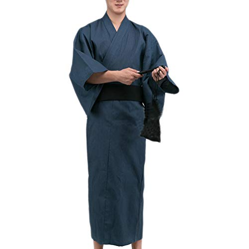 Fancy Pumpkin Kimono Giapponese da Uomo Jinbei Yukata Home Robe Pigiama Vestaglia A8 【Taglia L】