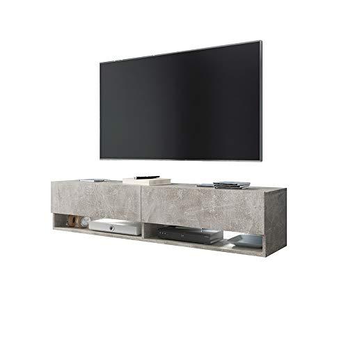 Selsey Wander - Meuble TV Suspendu/Banc TV avec LED (140 cm) (béton)