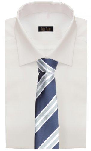 Classica cravatta uomo a righe per lufficio con 8cm di larghezza blu marino bianco perla Fabio Farini