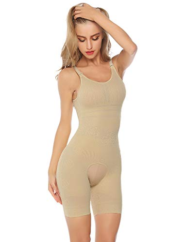 Hawiton Damen Shapewear Bodyformer Bauchweg Unterwäsche Body Miederhosen Unterhosen (Beige, Medium) -