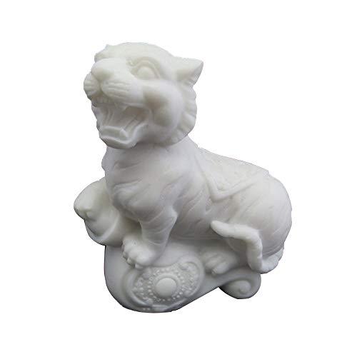 LINGS White Tiger Statuen Marmor Stein Wächter, Chinese Zodiac Feng Shui Dekor, für Haus und Büro Reichtum und viel Glück, Beste Einweihungsparty Glückwunschgeschenk - Feng Shui Marmor