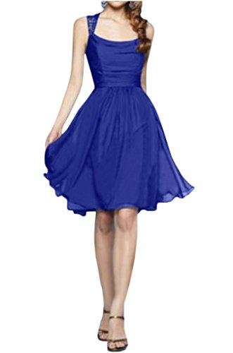La_Marie Braut 2017 Neu Royal Blau Traeger Chiffon Abendkleider Cocktailkleider Brautjungfernkleider Mini Royal Blau