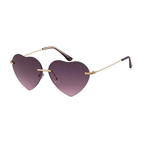 ADEWU Herzform Sonnenbrille Randlos Strand Brille Damen Frauen