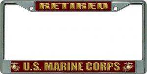 US Marine Corps Retired chrom Nummernschild Rahmen (Marine Corps Nummernschild)