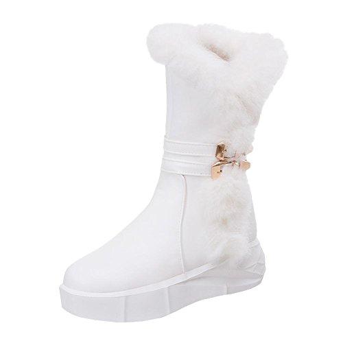 Mee Shoes Damen halbschaft runde Reißverschluss hidden heels Stiefel Weiß