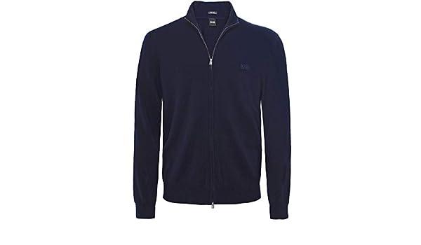 e5bbddce8 BOSS Men's Virgin Wool Zip-Through Egusto Cardigan Blue M: Amazon.co.uk:  Clothing