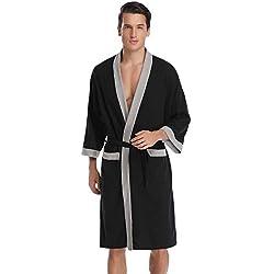 Aibrou femme homme Kimono Tissage Gaufré Peignoir de Bain Unisexe Coton Waffle Robe de Chambre col V Pyjama Pour l'hôtel Spa Sauna Vêtements de nuit - Noir - X-Large