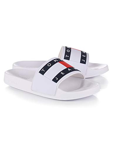 Tommy Hilfiger Tommy Jeans Flag - Chanclas Mujer Blanco