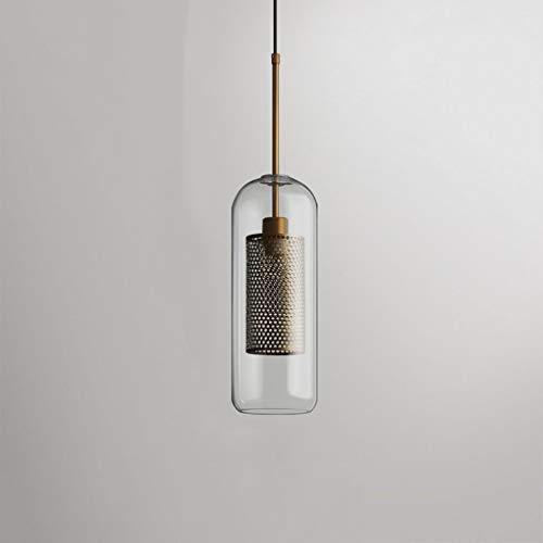 Yankuoo Vintage industrielle Single Head Art Kronleuchter, kreative Metallgitter Glas Kronleuchter, Esszimmer Küche Schlafzimmer Beleuchtung -