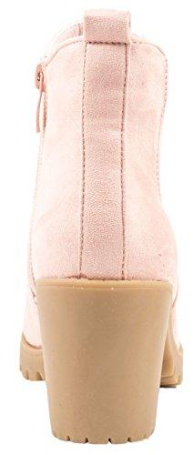 Elara Ankle Boots | Trendig Bequeme Damen Stiefeletten | Plateau Blockabsatz Pink Wildlederoptik
