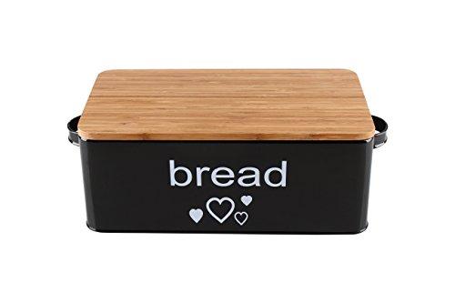 spacieux Boîte à pain en mélamine ou métal avec couvercle comme Planche à Schneider Dimensions Boîte métal 33x 18x 12cm ou Mélamine Boîte à pain en bambou 38x 22x 12cm plusieurs couleurs au choix, Metall 33x18x12cm Schwarz