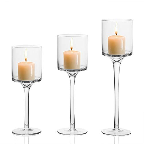 BELLE VOUS Kerzenhalter (3 Stück) - Verschiedene Größen L-26cm, M-23cm, S-20cm Hoch - Glas Kerzenständer für Teelichter - Teelichthalter für Hochzeit, Tischdekoration
