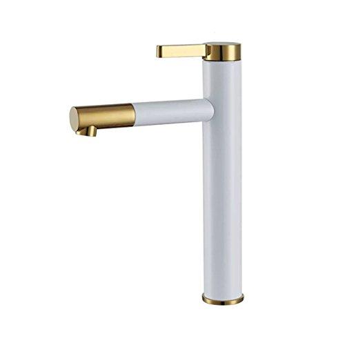 Kostenlose Gesicht Waschen (Weiße Waschbecken - breite Kupfer heiß und kalt waschen Sie Gesicht Becken ist kostenlos Messinghähne, kreative Single weiß + Gold zu drehen, 28,5 cm)