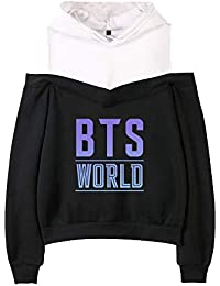 82189f886b3f4 BTS Mujer Sudaderas con Capucha Ocasionales Suéter Estampados Hipster  Sweatshirts Sin Tirantes Jerseys Elegantes Camisetas de