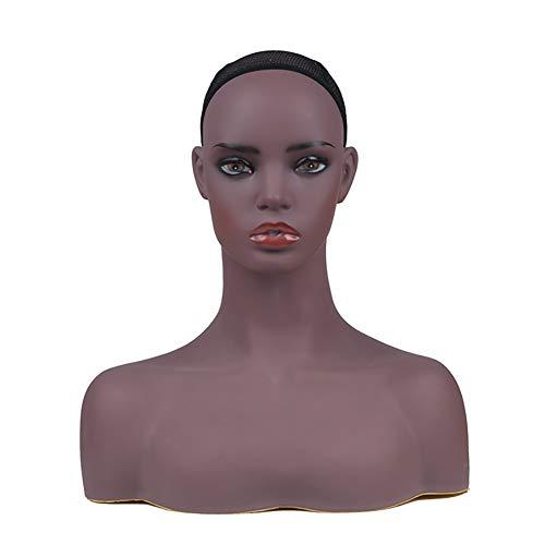 XXL Trainings-Kopf-Kosmetologie-Fachmann-Kahler Männchen-Kopf mit Schultern und Fehlschlag-dunklem Haut-Ton-Ausstellungsstand