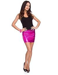 futuro fashion Damen glänzend metallisch flüssig Lack-Optik lässig und Party Club Kleidung Minirock Rio