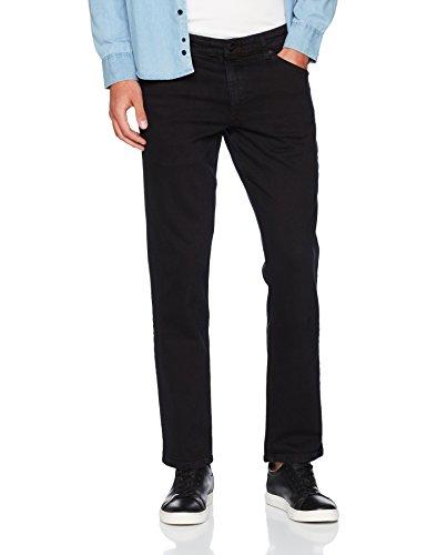 Herren Schwarz Wrangler (Wrangler Herren Straight Jeans Greensboro, Schwarz (Black Overdye 04), W33/L32)