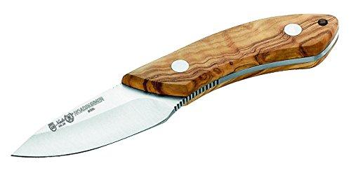 Nieto - Cuchillo con fijación para el cinturón (inoxidable, mango de madera de olivo, funda de piel, puño de 10,4 cm)