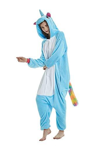 Einhorn Kigurumi Fleece-Schlafanzug mit Kapuze, Einhorn, Tierkostüm, Unisex, Erwachsene, Herren, Damen, Kostüm, Loungewear Übergröße XL(Fits Height ()