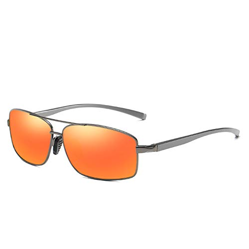 HYwot AORON Herren-Sonnenbrille, farbig polarisierte Sonnenbrille, Aluminium-Magnesium, Blendschutz, UV-Schutz, Geeignet für Autofahren, Outdoor, Reisen,Grayred