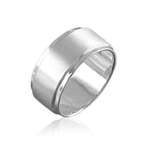 Vinani Herren Ring zwei Bänder mattiert glänzend breit klassisch zeitlos Sterling Silber 925 Männer Größe 64 (20.4) RIB64