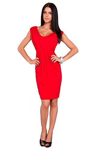 Futuro Fashion Femmes Robe Tulipe Sans manche avec Col V Style Décontracté Taille 8-18 UK 8437 Rouge