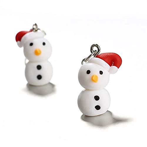 ge, handgemachte Polymer Clay Ohr Tropfen Einzigartige Schneemann Form Ohrringe Anhänger Frauen Weihnachten Modeschmuck Geschenk ()