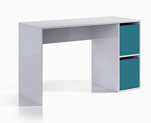 Habitdesign 0A2316BO - Mesa escritorio con puertas, color Blanco Brillo y Azul
