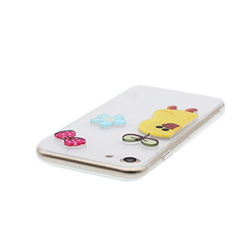 Custodia iPhone 7, Case TPU 3D Durable Cute Shockproof Copertura per iPhone 7 ( 4.7 ) Cover Shell Soft TPU / anatra duck ( bianca ) bianca 3
