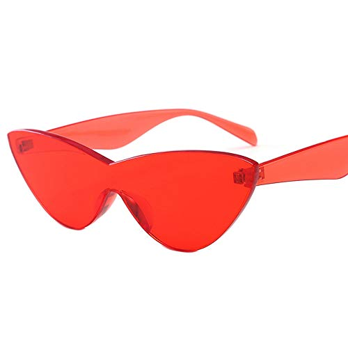 HUWAIYUNDONG Sonnenbrillen,One-Piecesunglasses Women Niedliche Sexy Cat Eye Vintage Billige Sonnenbrille Rot